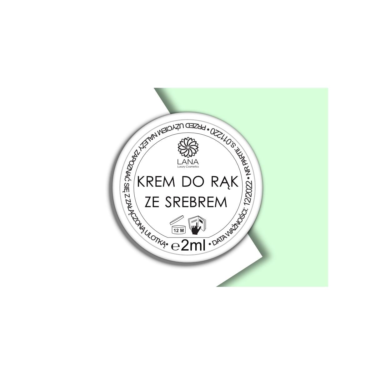 Wypróbuj! Nawilżający Krem do rąk ze srebrem 2ml